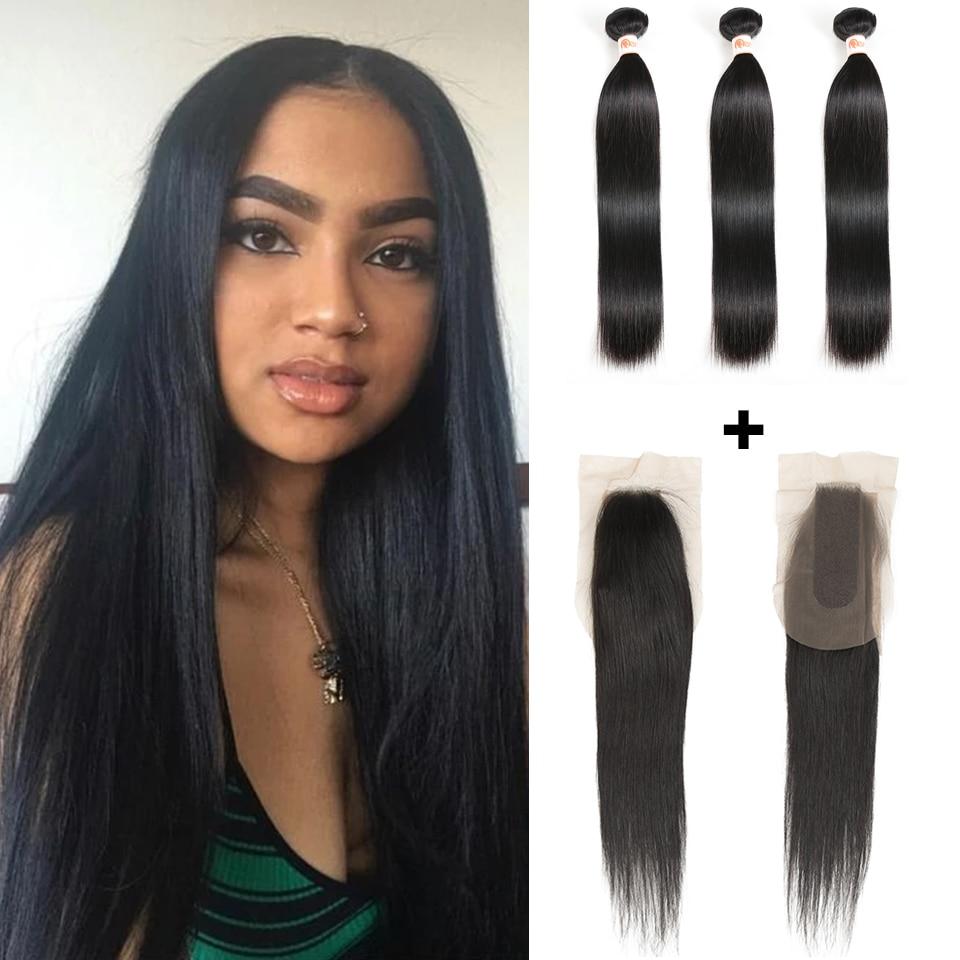 Remy Forte 2x6 Closure And Bundles 100% Remy Brazilian Hair Weave Bundles 28 Inch Bundles With Closure Straight Hair Bundles