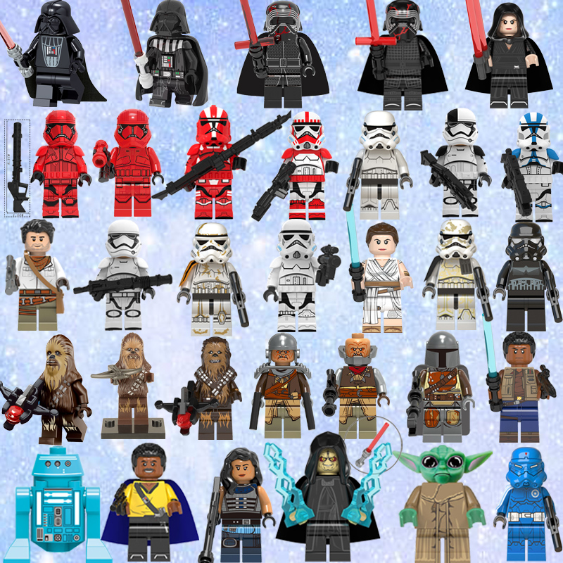 Legoed 2019 Star Wars Rey Finn Kylo Ren Drak Rey Lando Chewbacca Palpatine Baby Yoda Sith Stormer Raider  Building Blocks Toy