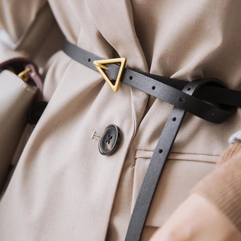 Luxury Designer Belts For Women Genuine Leather Long Thin Belt Black Ladies Waist Ceinture Femme Gold Triangle Waistband 2020