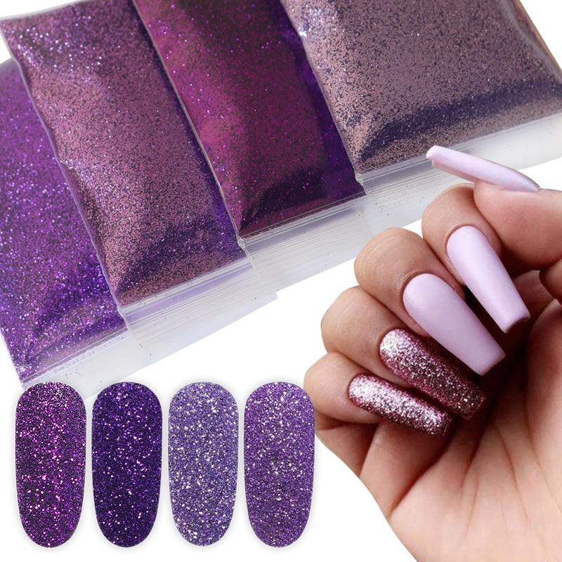 RIKONKA 10G Gradient Shiny Glitter Powder Shining Sugar Nail Fine Glitter Dust Nail Art Decorations Manicure 20 Colors 0.2mm