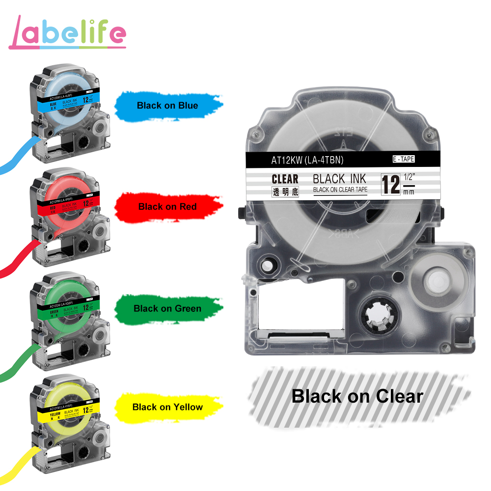Labelife Lk-Tape Printer 12mm Standard LC-4WBN SS12KW Compatible for Epson Lw-300/Lw-400/Sr530c title=