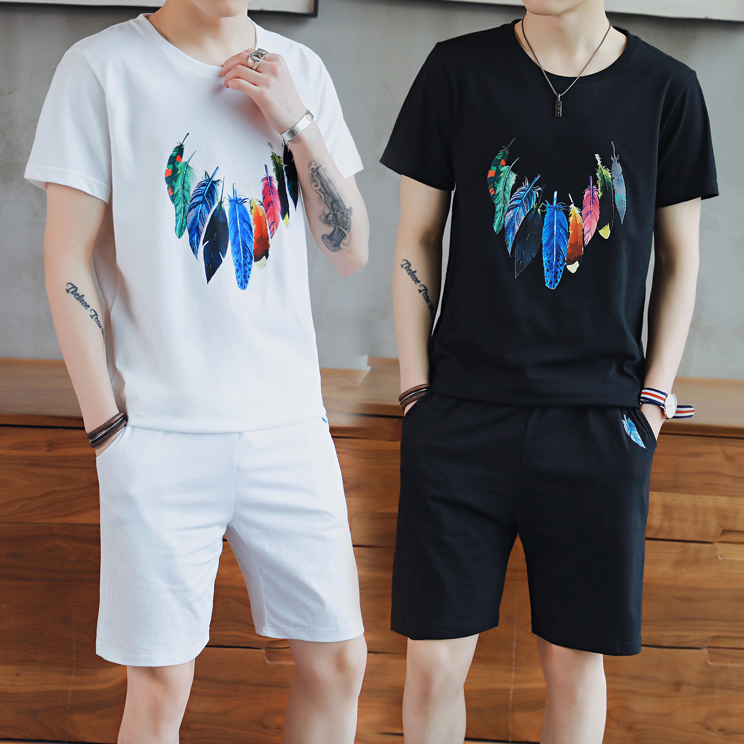 2019 New Style Men's Summer Short-sleeved Set Men's Casual Men's Sports Clothing Running Teenager T-shirt 5 Pants Set