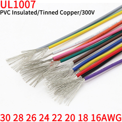 2M/5M UL1007 PVC Tinned Copper Wire Cable 30/28/26/24/22/20/18/16 AWG White/Black/Red/Yellow/Green/Blue/Gray/Purple/Brown/Orange