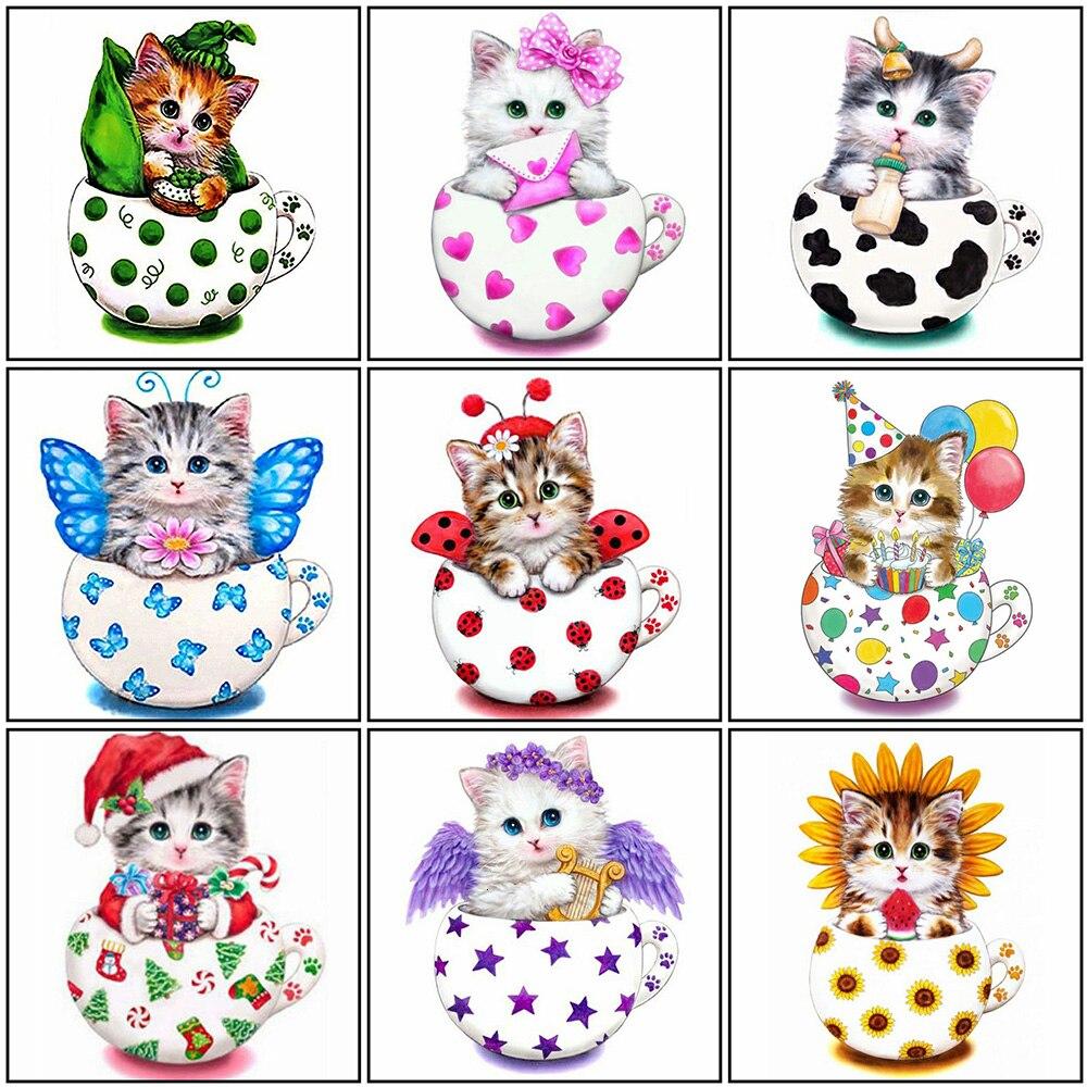Evershine Diamond Embroidery Cat 5D DIY Diamond Painting Cross Stitch Animals Mosaic Full Layout Kids Room Decoration