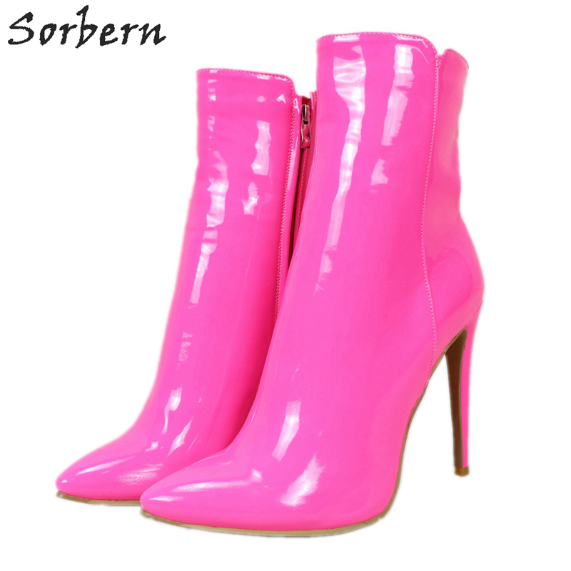 Sorbern Fuchsia Patent Ankle Boots For Women High Heel Stilettos Winter Style Walking Boots Womans Shoes Fashions 2020 Diy Color