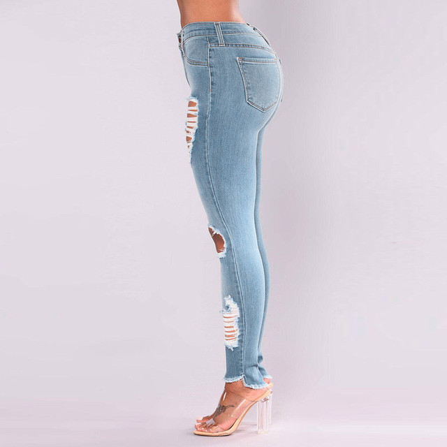 2021 Newest Hot Womens Stretch Skinny Ripped Hole Washed Denim Jeans Female Slim Jeggings High Waist Pencil Pants Trousers #R25 5