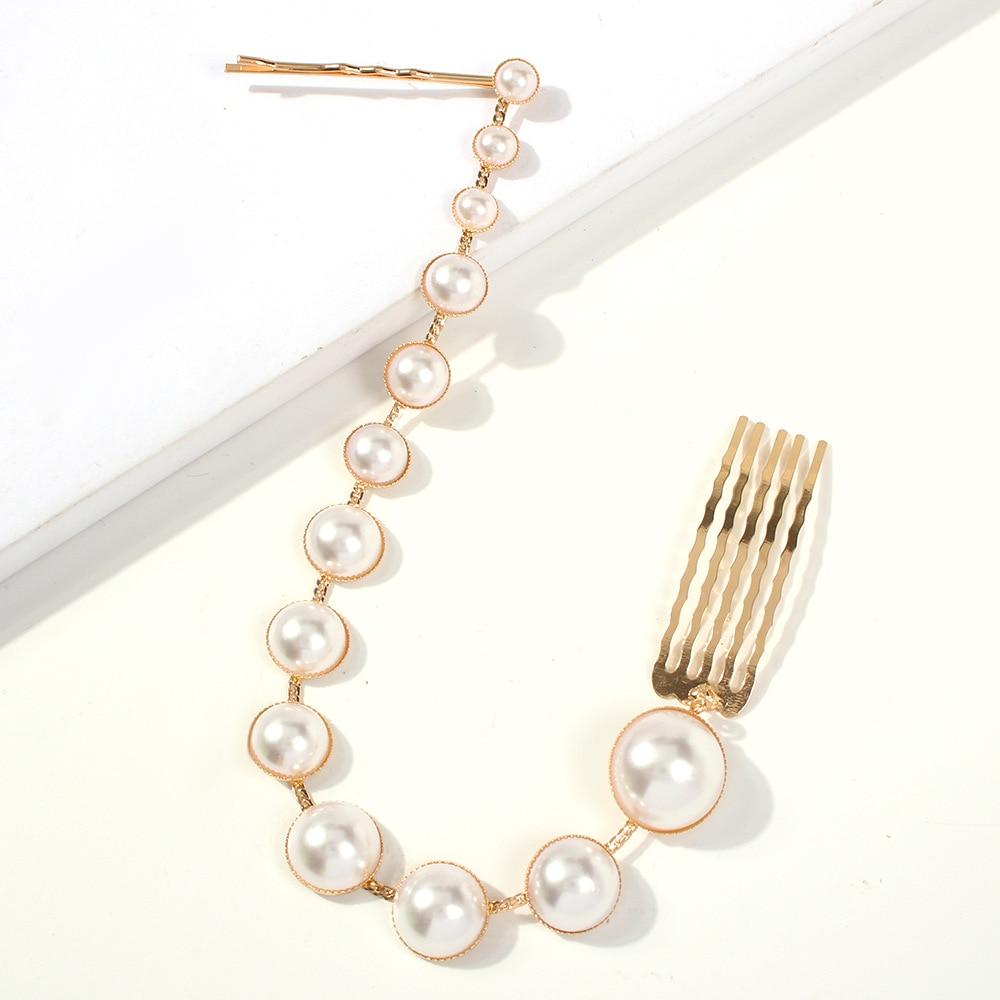 CN Alloy Long Chain Pearl Hair Clips For Women Sweet Hair Accessories Sweet Heart Hairpins Bows Flower Hairgirps Barrette