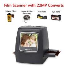 Scanner de filme com 22mp converte 126kpk/135/110/super 8 filmes slides negativos tudo em um fotos digitais, tela lcd de 2.4