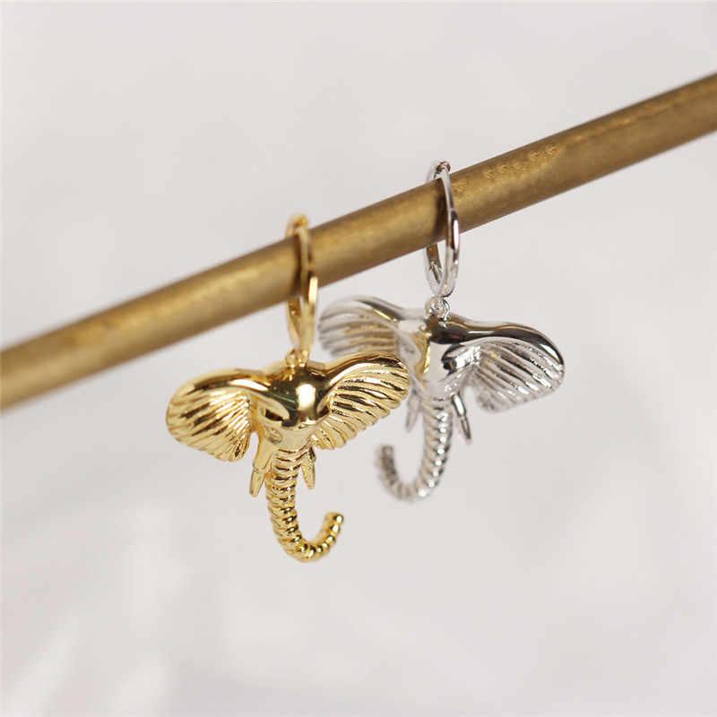 Pendientes colgantes con forma de elefante de Ying Vahine 100% Plata de Ley 925 para mujer
