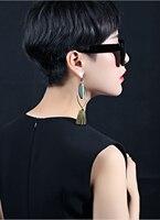 Brand fashion earrings Bohemia Crystal Flower Tassel Handmade Red Blue Fringed Long Drop Earrings boucle doreille Women Jewelry