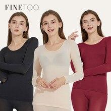 Finetoo熱セット女性暖かいロングジョンズ冬の女性の下着セットのシームレスな弾性熱インナーウェア女性暖かいスーツ