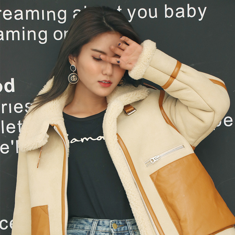 Genuine Leather Jacket Women Motorcycle Cow Leather Jacket Korean 100% Wool Coat Real Leather Jacket Women Clothes 2020 YY1056