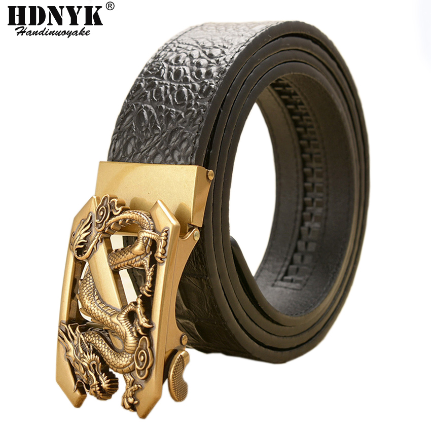 New Famous Designer Belts For Men High Quality Automatic Belt Men Leather Girdle Casual Waist Strap With Dragon Pattern Buckle