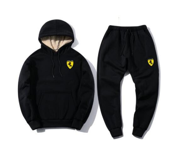 Men Hooded Fleece Fur Sportwear Suit Tracksuit Track Active Suit Outwear 2PC Jacket Coat Pants Trousers Sets Outfits