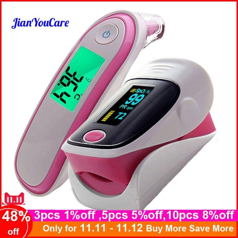 Médico oxímetro de pulso orelha forhead termômetro infravermelho digital portátil cuidados de saúde da família spo2 pr oximetro pulso