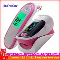 Médico oxímetro de pulso de la punta del dedo termómetro infrarrojo Digital portátil de la salud de la familia Spo2 PR oxímetro de pulso