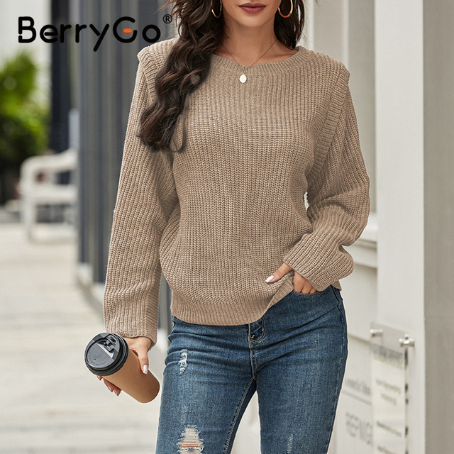 Fashion loose knitted women's sweater