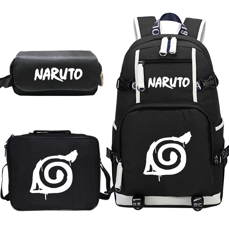 Naruto Anime Backpack For Boys Girls Children School Bags Student Bookbag Kids School Bagpack With Lunchbag+pen Bag Sac A Dos
