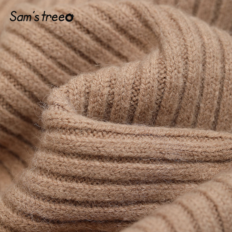 SAM'S TREE Multicolor Solid Minimalist Knit Pullover Sweater Dress Women 2020 Winter Pure Split Long Sleeve Soft Ladies Dresses 3