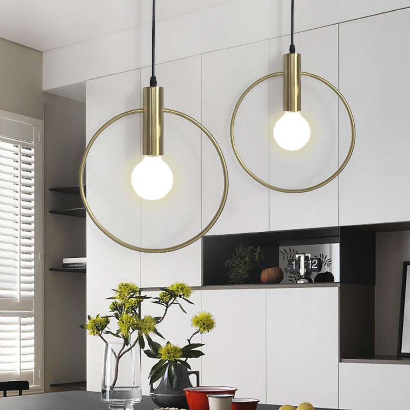Modern Gold Single Ring Pendant Light For Lobby Dining Room Arts Decoration Lighting Antique Simple Pendant Lamp E27