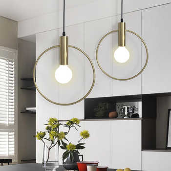 Modern Gold single ring Pendant Light For Lobby Dining Room Arts Decoration lighting Antique Simple Pendant Lamp E27 - DISCOUNT ITEM  48% OFF All Category