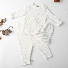 3 sztuk/zestaw jesienno zimowa dziewczynka ubrania dzianiny prążkowany sweter chłopcy swetry spodnie kapelusze długa koszula odzież dziecięca 0 3Y