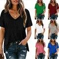 Женские хлопковые футболки с коротким рукавом, летние свободные повседневные черные топы с карманами и V-образным вырезом, модная футболка ...