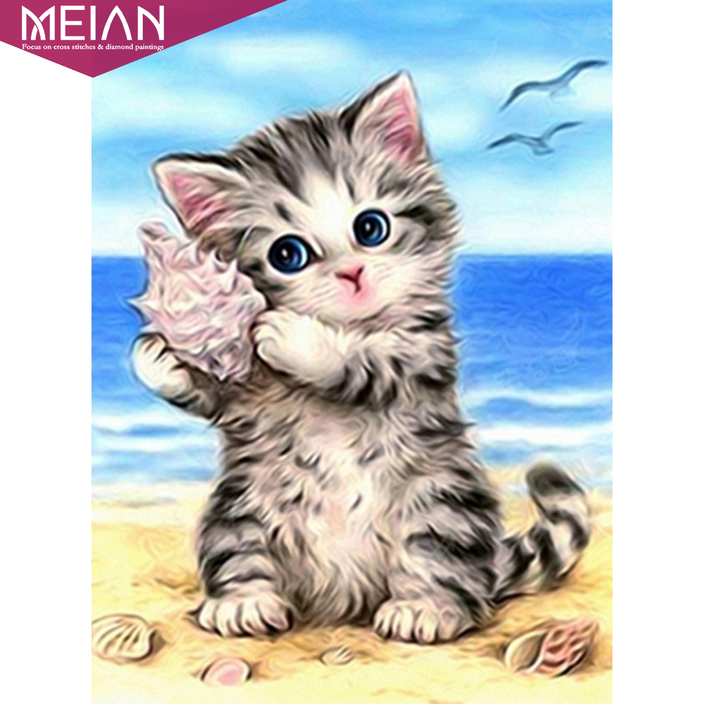 Meian 5D Cat Diamond Painting Cross Stitch Diamond Embroidery Full Round Rhinestones Pattern Home Decoration Needle Craft&Art