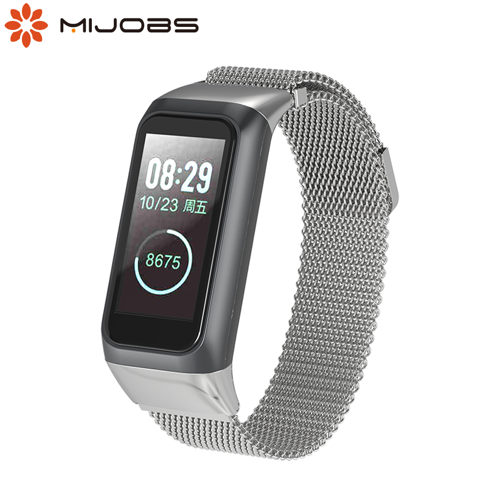 Mijobs Metal Strap for <font><b>Amazfit</b></font> <font><b>Cor</b></font> <font><b>2</b></font> Smart Band2 Wristband Stainless Steel <font><b>Bracelet</b></font> Wrist for <font><b>Amazfit</b></font> Smart Watch Band2 <font><b>Cor</b></font> <font><b>2</b></font> image