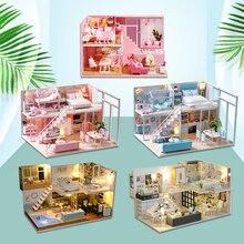 DIY miniaturowy Model domku dla lalek lalki meble domowe LED Light 3D drewniany Mini domek dla lalek ręcznie robione zabawki prezentowe dla dzieci L023 # E