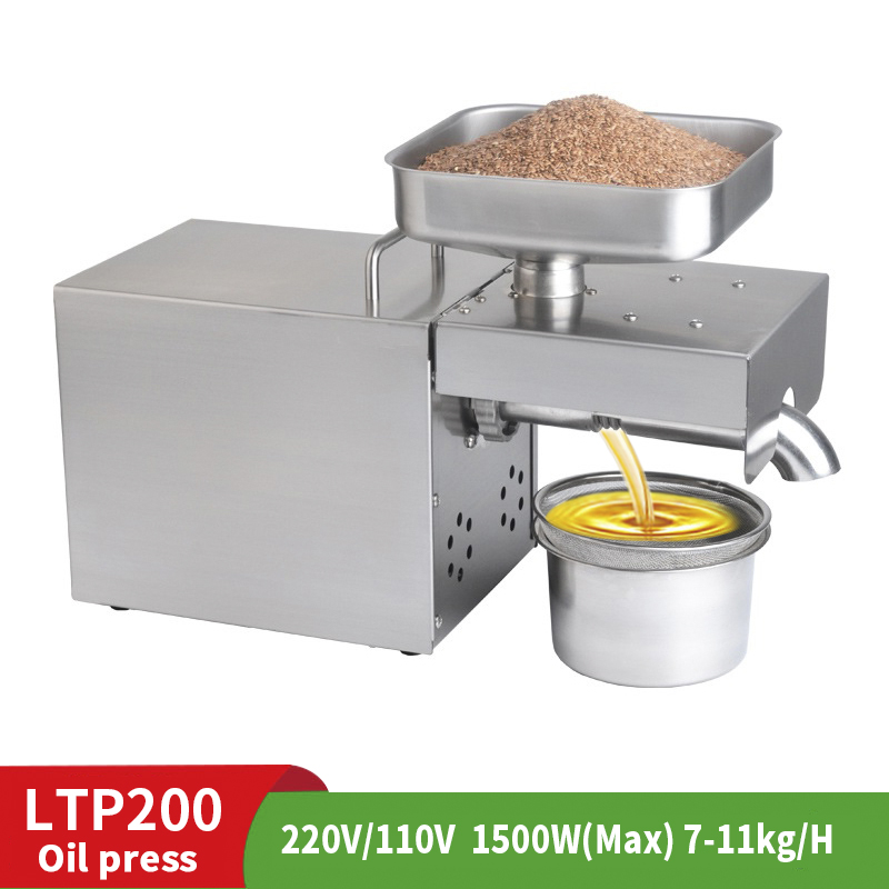 220V Household Oil Press Stainless Steel Cold Press Machine Sunflower Seed 1500W 7-11kg /H Edible Oil Processing Equipment