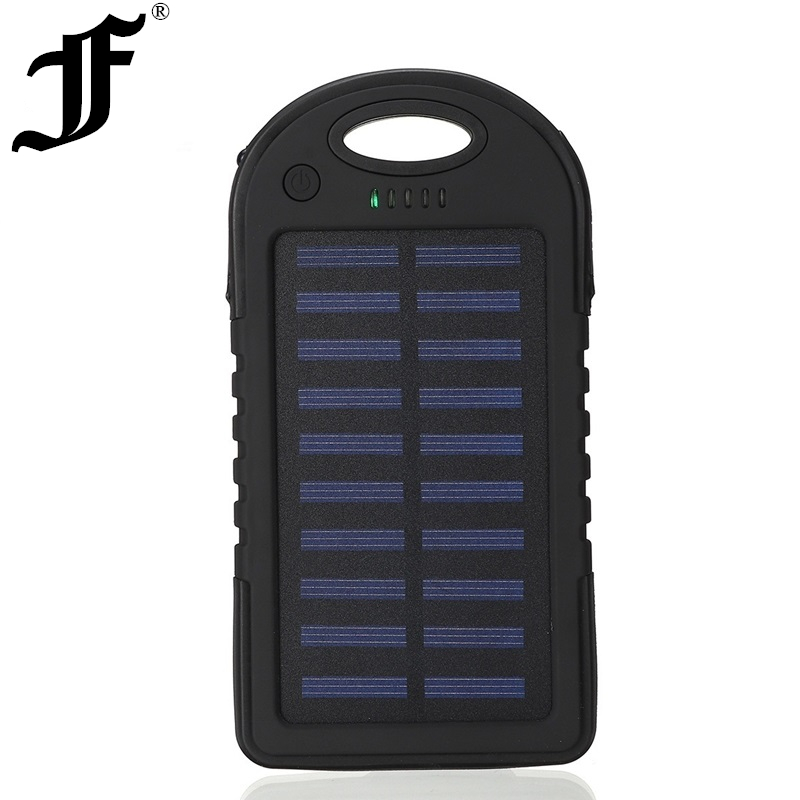 Solar <font><b>12000mAh</b></font> power bank Portable Solar Panel Dual USB Battery Pack Charger Charging LED Battery Charger For iphone5 6 7 8 X image