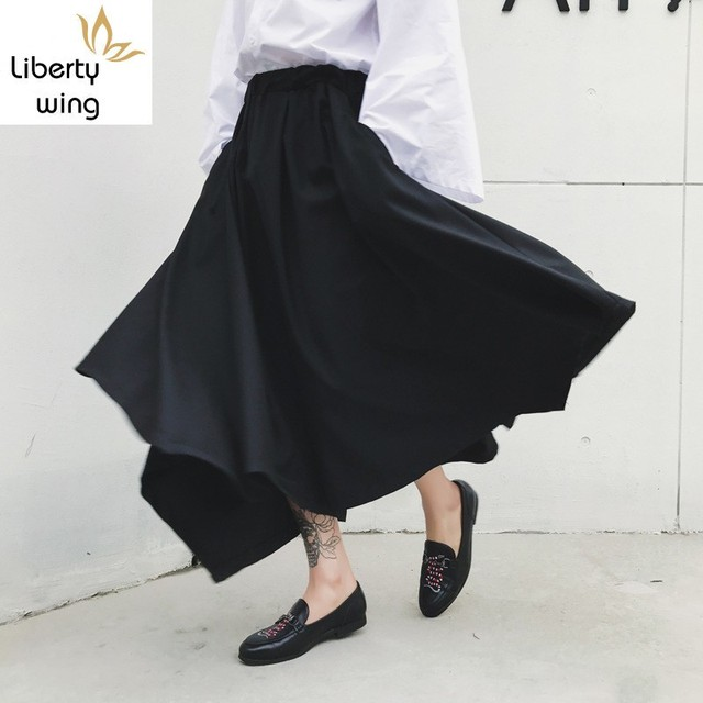 Spring Harajuku Mens Baggy Ankle Length Flare Wide Leg Irregular Pantskirt Loose Fit Elastic Waist Harem Pants Plus Size 2
