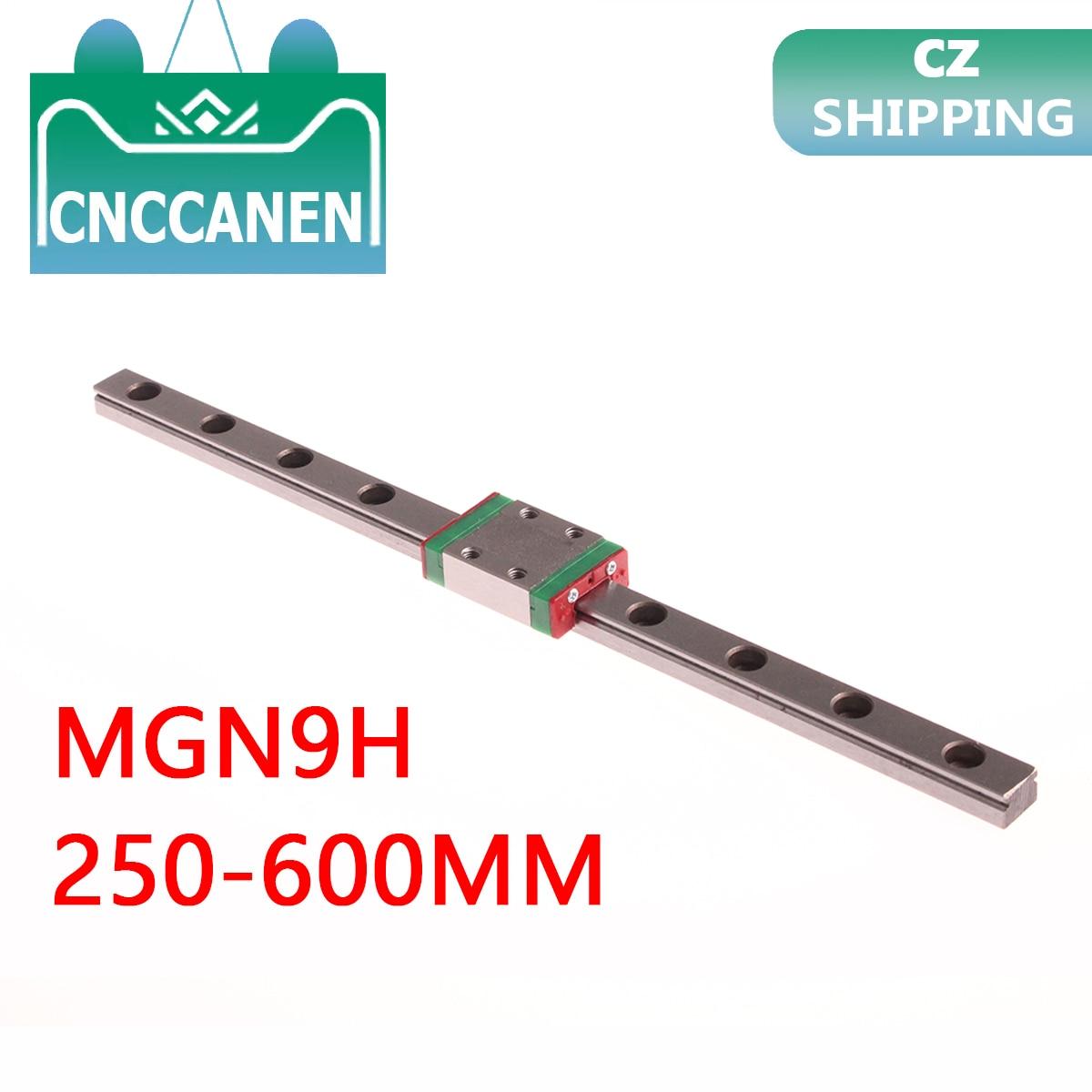 MGN9 Miniature Linear Rail Slide 250/300/350/400/450/500/550/600mm 1PCS MGN Linear Guide + MGN9H Carriage Block CNC 3D Printer