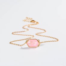 2019 charm crystal chain necklace pink Gem shell pendant Name Initials letter necklace  Jewelry alphabet necklace for women gorgeous faux gem square necklace for women