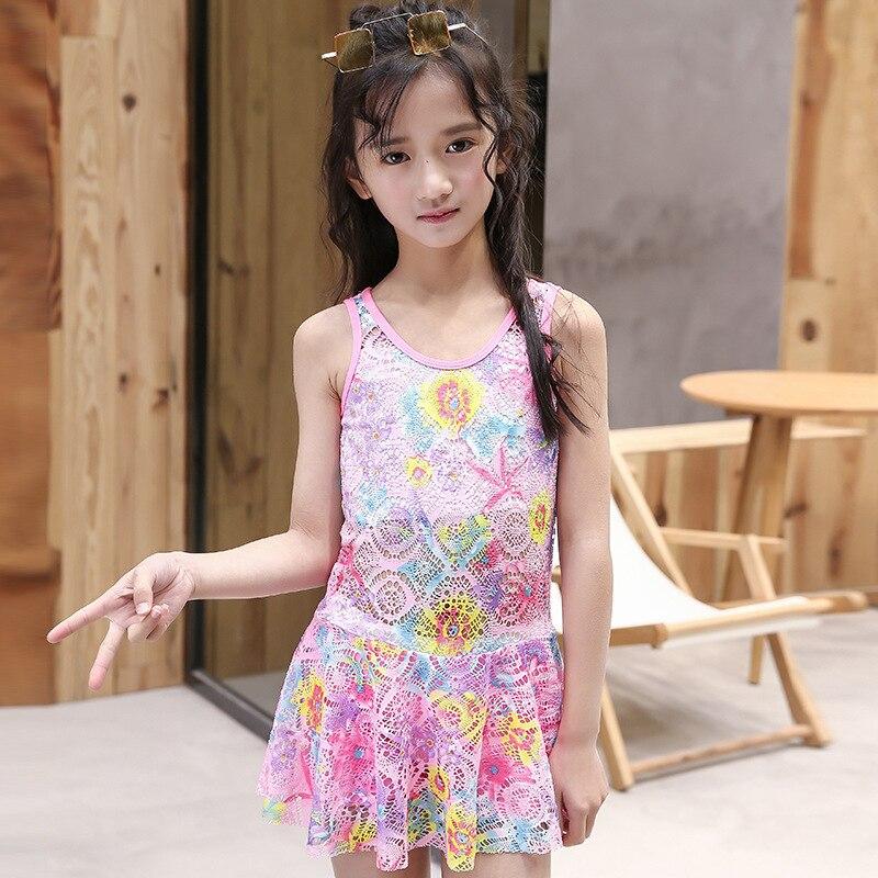 2019 Korean-style KID'S Swimwear Girls Floral Dress-Tour Bathing Suit Small Qing Xin Wen Quan Swimwear