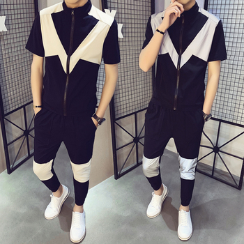 Summer Short Sleeve T-shirt Stand Collar Patchwork Top Long Pants Two Pieces Set Casual Fashion Clothing B75 wuhe women fashion o neck short sleeve long swing top and slim pants summer casual two pieces sets playsuits combinaison femme