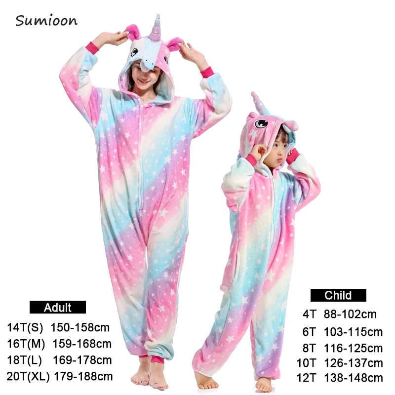 Kigurumi/пижамы для мальчиков и девочек; зимние женские пижамы с единорогом; пижамы с рисунком животных из мультфильма «Единорог»; Детские пижамы с капюшоном; одежда для сна; комбинезон