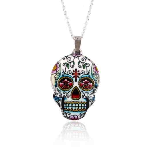 SMJEL Bijoux Ethnische Skeleton Halskette Frauen Punk Bunte Schädel Kopf Halsketten Mexikanische Schädel Schmuck Halloween Geschenk Dropshiping