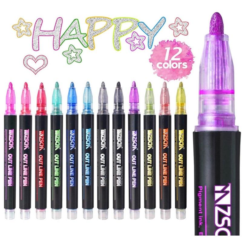 12 Colors Metallic Glitter Colorful Color Outline Marker Kawaii Art Marker Double Line Pen for School Drawing Art Supplies Pen