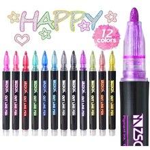 12 cores metálico glitter colorido cor esboço marcador kawaii marcador de arte dupla linha caneta para a escola desenho arte suprimentos caneta