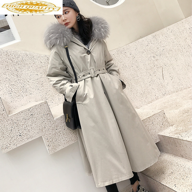 AYUNSYE Real Fur Coat Winter Coat Women Clothes 2019 Korean Fox Fur Collar Rex Rabbit Fur Coat Women Hooded Warm Parka YY1805