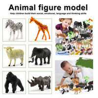 44pcs Genuine Wild Jungle Zoo Farm Animal Series Jaguar Collectible Model Kids Toy Early Learning Cognitive Toys Gifts