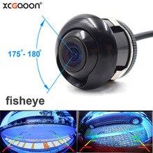 Xcgaoon ccd 180 graus lente fisheye lado traseiro do carro câmera de visão frontal grande angular invertendo backup câmera visão noturna à prova dwaterproof água