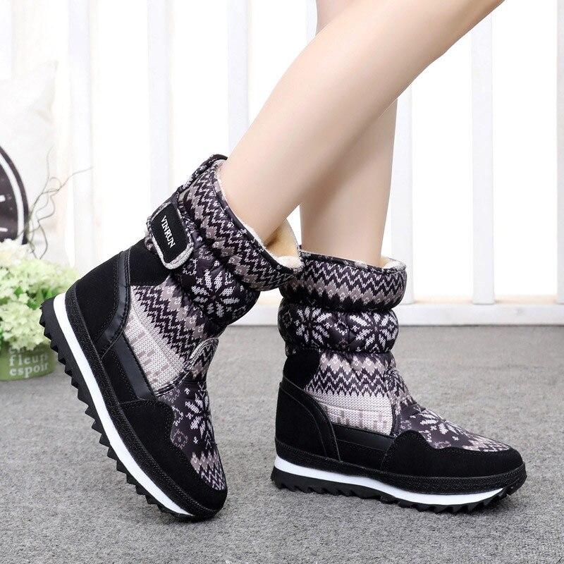 Зимняя обувь, женские ботинки 2020, теплые плюшевые ботинки на платформе и липучке для снега, резиновая подошва, до середины икры, нескользящая повседневная обувь, женские ботинки Зимние сапоги    АлиЭкспресс