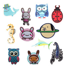 Cartoon Animal Patch Stickers Iron on Clothes Heat Transfer Applique Embroidered Rabbit Applications Cloth Fabric Sequin Patches