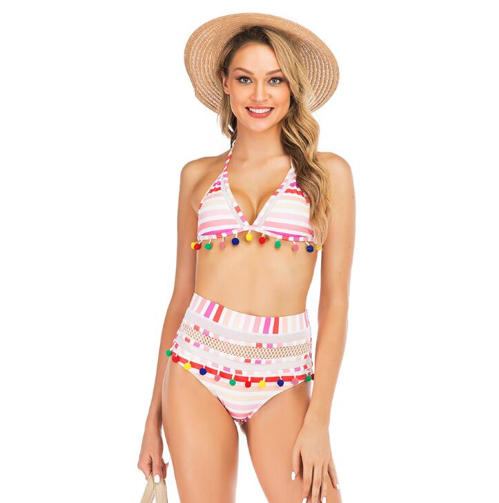 Hef26ebeec16b4b42b2317de961b86247Q Bikini Rainbow Mesh Fringe Swimwear Women