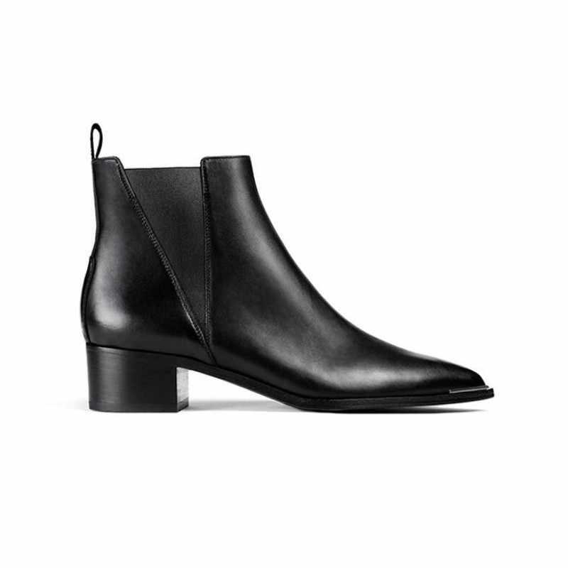 2020 novo inverno genuíno couro botas de tornozelo moda feminina elegante preto senhoras deslizamento no dedo do pé apontado botas chelsea sapatos 34-39