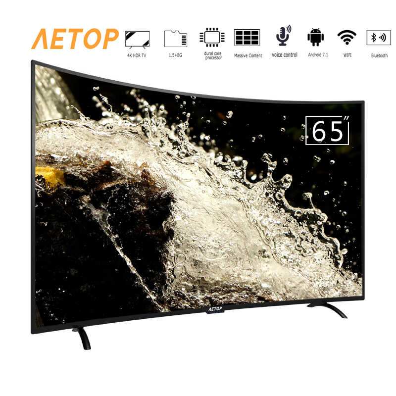Free shipping-Android curved screen television 1.5G+8GB  65 inch 4k hd led tv smart with wifi