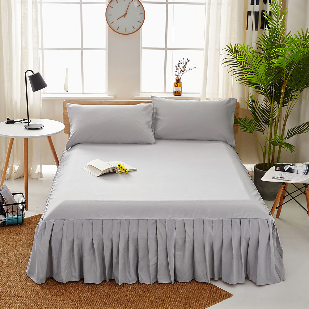 1pc Sanding Bedspread Solid Color Fitted Sheet Cover Soft Non-Slip King Queen Bed Skirt Protector Bed Mat Cover 1.2m/1.5m/1.8m 14